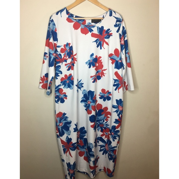 Eloquii Dresses | Plus Size Red Blue Floral White Dress 22 | Poshmark